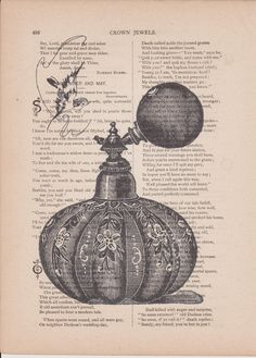 Vintage perfume bottle on poetry page Shipping by bmarinacci