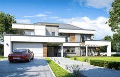 Projekt domu Willa Floryda 4 327,82 m2 - koszt budowy - EXTRADOM Construction Cost, Storage Places, Modern House Design, Home Projects, Custom Homes, Pergola, Villa, Exterior, Patio