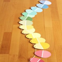Paint chip easter garland! @Apryl Stafford Square #eggs