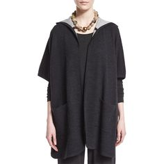 Eileen Fisher Hooded Double-Knit Poncho (5.212.800 IDR) ❤ liked on Polyvore featuring outerwear, charcoal, open front poncho, hooded poncho, eileen fisher poncho and eileen fisher