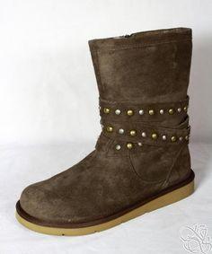 UGG Australia Clovis Espresso Silkee Suede Studded Womens Winter Boots
