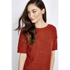 Rust Short Sleeve Knitted Top (300 NOK) ❤ liked on Polyvore featuring tops, rust, red top, short sleeve tops and red short sleeve top