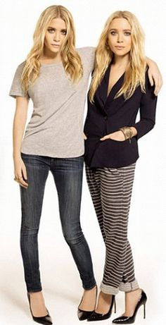 Simplicity Ashley Olsen and Mary-Kate Olsen Ashley Olsen, Ashley Mary Kate Olsen, Elizabeth Olsen, Looks Style, Style Me, Hair Style, Amo Jeans, Olsen Sister, Sister Sister