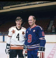 All Star Game with Bobby Hull, Bobby Orr Boston Bruins Hockey, Blackhawks Hockey, Hockey Teams, Chicago Blackhawks, Hockey Room, Hockey Stuff, Bobby Hull, Bobby Orr, Nhl All Star Game