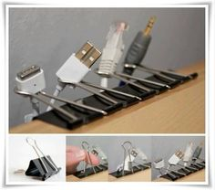 Top 10 DIY Small Space Storage Ideas – Best place for crafters, DIY and fashion enthusiasts! Computer Desk Organization, Cord Organization, Cord Storage, Classroom Organization, Diy Cadeau, Ideas Para Organizar, Small Space Storage, Cord Management, Idee Diy