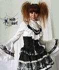 Black and white Visual kei/lolita top with jabot