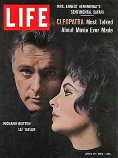 """Richard Burton and Elizabeth Taylor on the cover of """"Life"""" magazine as they were performing in """"Cleopatra. Richard Burton Elizabeth Taylor, Burton And Taylor, Queen Elizabeth, Country Life Magazine, Beautiful Ruins, Life Cover, People Magazine, Time Magazine, Magazine Art"""