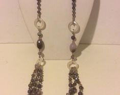 Largo gris grueso con cuentas collar de Multi Strand collar de