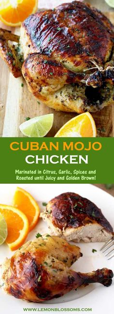 This Cuban Mojo Chicken is infused with a flavorful Mojo marinade made with citrus, garlic and spices, then oven roasted until golden brown, juicy and tender! This mouthwatering Mojo Chicken is perfect for dinner any day of the week and also fabulous for Marinated Chicken, Baked Chicken, Cuban Chicken, Oven Roasted Chicken, Citrus Marinade For Chicken, Roast Chicken Marinade, Chicken Chorizo, Cuban Mojo Chicken Recipe, Mojo Sauce Recipe