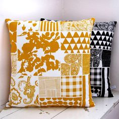 Fun yellow & black screen printed pillows!