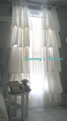 DIY:: Shabby Chic Curtains - these are so pretty!!! Be great in the room with the white iron bed!                              awesome! I have a king dust ruffle and I love the fabric. I was thinking curtins, this would be perfect idea. #shabbychicbedroomsgirls