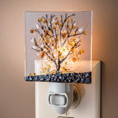 Autumn tree decorative night light is made by J. Devlin with fused glass for a natural beauty. Find more glass decorative night lights in our online gift store.