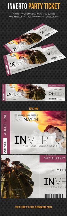 Inverto Party Event Ticket — PSD Template #11.25x3.25 #perforation • Download ➝ https://graphicriver.net/item/inverto-party-event-ticket/18189100?ref=pxcr