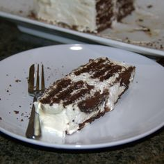 The easiest cake that even I can make it. No baking required and includes a generous serving of brandy. Serving Plates, Dessert Recipes, Desserts, Allrecipes, Chocolate, Baking, Ethnic Recipes, Food, Tailgate Desserts