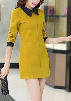 Faux Wool Mini Dress - Cute Peter Pan Collar Dress