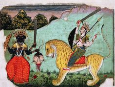 Goddess Kali brought two heads of demons-named Chand and Munda to Goddess Durga, which is why She is known as Chamunda, Bikaner, Rajasthan, painted by Ruknnudin in late 16th century for Raja Karan Singh of Bikaner. c/o Dr. Daljeet Kaur.