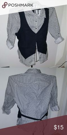 Tuxedo inspired button up Stripped button with attached vest. Ashley Stewart Tops Button Down Shirts