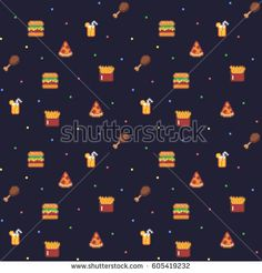 Pixel art seamless background pattern with fast food icons