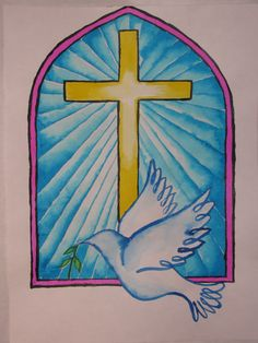 Stained glass style cross and dove watercolor painting by Susan Joe