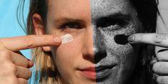 Esta imagem foi fotografada, à esquerda, com uma câmera normal e, à direita, com uma câmera UV. Nota-se diversas lesões da pele pela câmera UV, que não são visualizadas pela câmera normal. Como o protetor solar bloqueia os raios UV ele aparece escuro na fotografia UV.