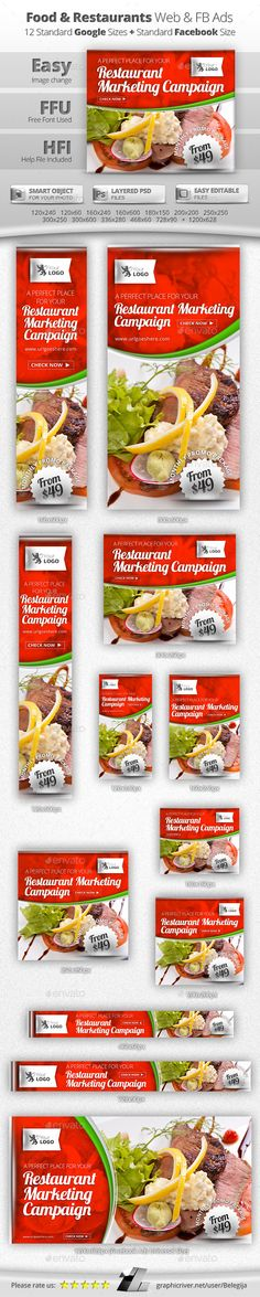 Food & Restaurants Web & Facebook Banners Template #design Download: http://graphicriver.net/item/food-restaurants-web-facebook-banners/11707555?ref=ksioks