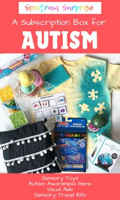 This is the perfect gift idea for a child on the autism spectrum! Spectrum Surprise is a subscription box service for autistic children, which includes sensory toys visual aids, and other autism items!