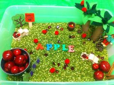ideas for apple sensory tubs (sensory bins); perfect for home or classroom in the fall or for an apple unit Apple Activities, Craft Activities For Kids, Sensory Activities, Learning Activities, Teaching Ideas, Preschool Ideas, Kid Crafts, Toddler Activities, Preschool Apples