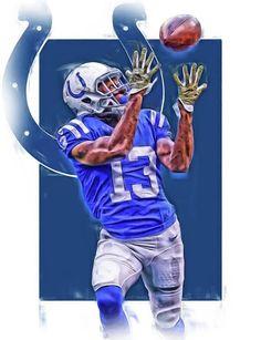 T Y Hilton Indianapolis Colts Oil Art Art Print by Joe Hamilton Cincinnati Bengals, Indianapolis Colts, Messi, Joe Hamilton, Akron Zips, Sports Drawings, Nfl Cheerleaders, Thing 1, Sport Football