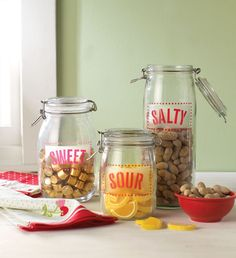 Stencil labels onto glass storage jars to organize your favorite snacks.