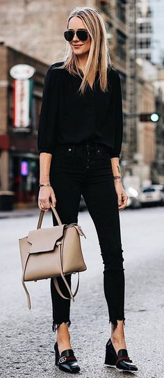 office style perfection / blouse + nude bag + skinnies + shoes
