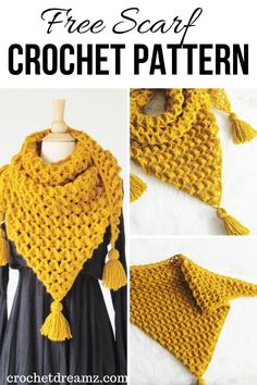 This free crochet textured triangle scarf pattern is sure to look great on any woman this fall and w Crochet Scarves, Crochet Shawl, Crochet Clothes, Crochet Stitches, Free Crochet, Knit Crochet, Crochet Patterns, Crochet Triangle Scarf, Crochet Pillow