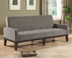 SOFA BEDS TUFTED SOFA BED WITH TRACK ARMS MODERN AFFORDABLE BLUE/GRAY STYLISH