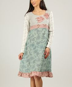 Another great find on #zulily! Green & Ecru Floral Paisley Empire-Waist Dress by Ian Mosh #zulilyfinds