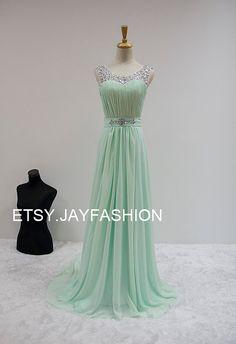 Mint Green Chiffon Simple Bridesmaid prom Dress V by jayfashion
