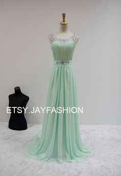 Mint Green Chiffon Simple Bridesmaid prom Dress V by jayfashion
