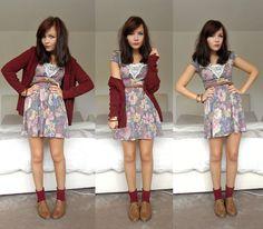 Topshop Burgundy Knit Cardie, Primark Floral Dress, New Look Ankle Socks, Primark Brogues