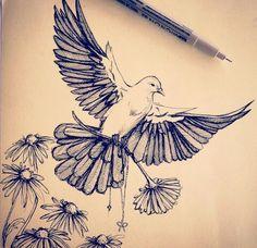 Dove drawing: Center back tattoo - symmetrical … Cool Pencil Drawings, Bird Drawings, Tattoo Drawings, Body Art Tattoos, Sleeve Tattoos, Wing Tattoos, Cross Tattoos, Celtic Tattoos, Dove Tattoo Design