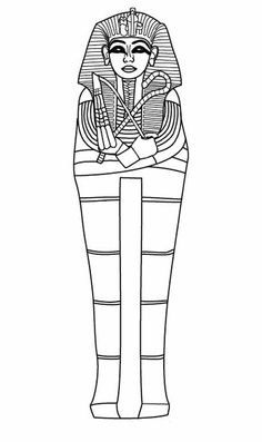 Ancient Egypt, Full Body Sarcophagus of Ancient Egypt Coloring Page: Full Body…