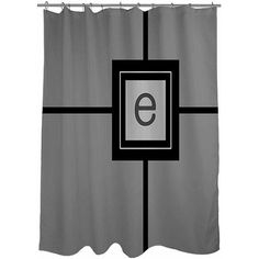 Thumbprintz Grid Monogram Shower Curtain, Grey, Gray