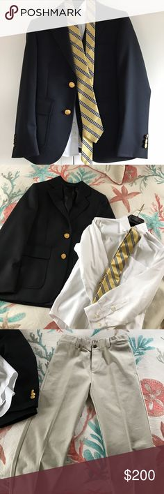 Boys Brooks Brothers semi-formal set Boys Brooks Brothers navy blue blazer with gold buttons (size 10),  white long sleeve cotton button down shirt (non-iron size 8), khaki flat front trousers with button pockets and adjustable waist (size 8) and gold/navy & white striped silk tie tag still on.  Outfit worn once by my son for communion. Perfect for weddings and Easter.  I prefer to sell as complete set. Brooks Brothers Matching Sets