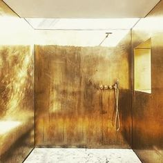 Shower Like a King Project from the archive #marble #brass #openair #showercabin #patina #douche #interiordesign #architecture #vola #arnejacobsen #makeadifference #hipvilla