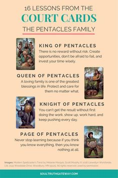 16 Lessons from the Court Cards Part 1: Pentacles and Court Cards Cheatsheet! | Tarot Learning | Tarot Meanings | Tarot Cheat Sheet | Tarot Minor Arcana | Tarot Court Cards | Tarot Pentacles #tarot #tarotcardmeaning #soultruthgateway #tarotcardscheatsheets