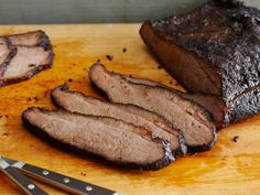 Smoked BBQ Brisket recipe from Bobby Flay via Food Network Smoked Brisket Flat Recipe, Oven Roasted Beef Brisket Recipe, Beef Brisket Recipes, Bbq Brisket, Barbecue Recipes, Smoker Recipes, Bbq Beef, Texas Brisket, Barbecued Ribs