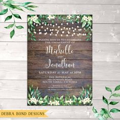Celebrate your engagement or wedding with this gorgeous customised digital rustic invitation featuring beautiful green watercolour leaves, cream flowers & string lights on a timber background. I will customise this romantic invitation just for you, ready to print or email. You can