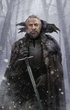 Jeor Mormont by Jortagul raven crow sword fighter king knight solder cape forest winter snow armor clothes clothing fashion player character npc | Create your own roleplaying game material w/ RPG Bard: www.rpgbard.com | Writing inspiration for Dungeons and Dragons DND D&D Pathfinder PFRPG Warhammer 40k Star Wars Shadowrun Call of Cthulhu Lord of the Rings LoTR + d20 fantasy science fiction scifi horror design | Not Trusty Sword art: click artwork for source by willa
