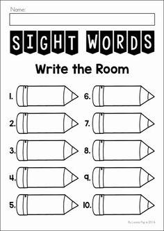 FREE Sight Words Write the Room printable.