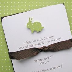 Miscellaneous - Etsy :: graciegirlnotes :: set of 10 custom baby shower, first birthday or birth announcement cards - celery green polka dot bunny with chocolate envelopes - baby shower invitations