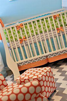 Custom Crib Skirt with 2 Bottom Bands