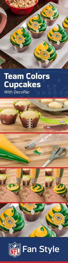 WOW! These team color cupcakes are the perfect dessert recipe for the perfect Homegate.  Bake a fresh batch, swirl on a topping of team color icing, and add on some DecoPac toppers, and you are ready for gameday!