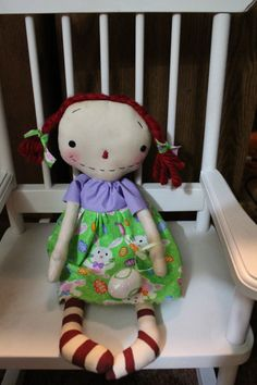 Raggedy Annie Spring Easter Bunny FAAP by colleenscraftshed, $14.95